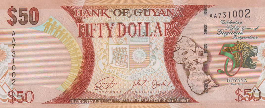 P41 Guyana 50 Dollars Year 2016